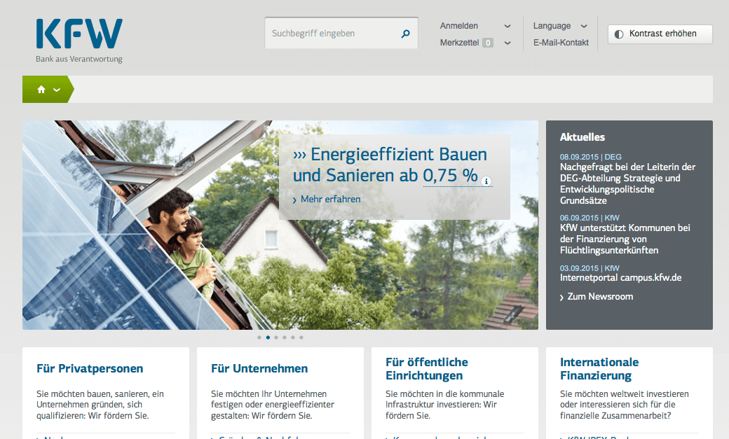 Screenshot der KfW Webseite